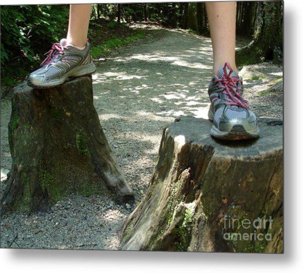 Tree Stump Stilts Metal Print