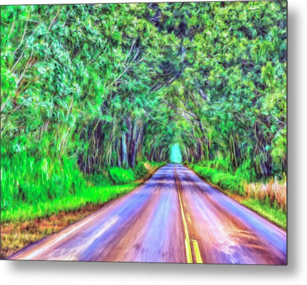 Tree Tunnel Kauai Metal Print