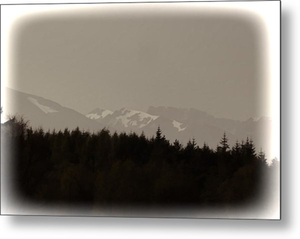 Treeline With Ice Capped Mountains In The Scottish Highlands Metal Print