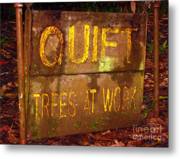 Trees At Work Metal Print by Christine Stack