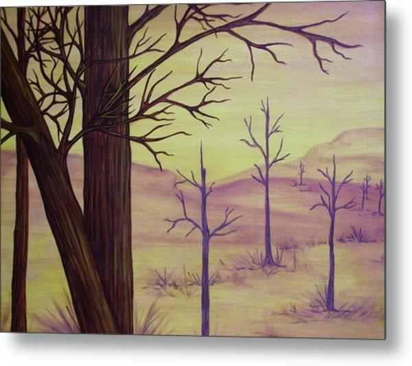 Trees In Gold Landscape Metal Print by Jan Wendt