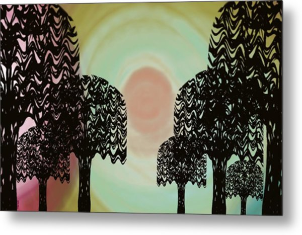 Trees Of Light Metal Print