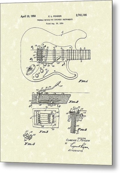 Metal Print featuring the drawing Tremolo Device 1956 Patent Art by Prior Art Design