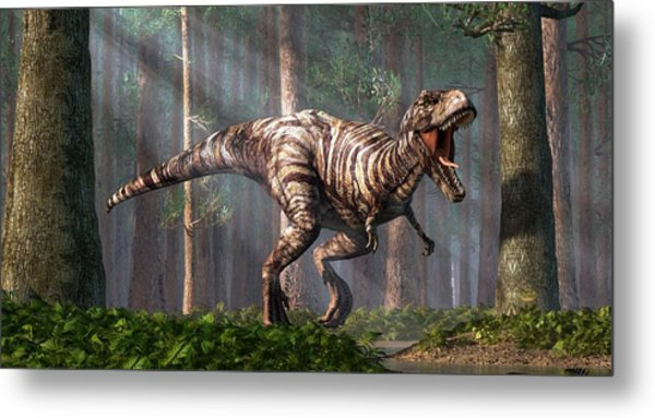 Trex In The Forest Metal Print