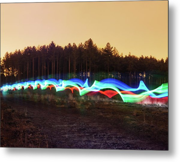 Tri-colour Light Trail In Heath Metal Print by Tim Robberts