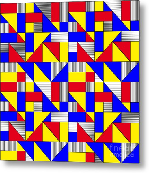 Triangles And Squares Geometrical Metal Print