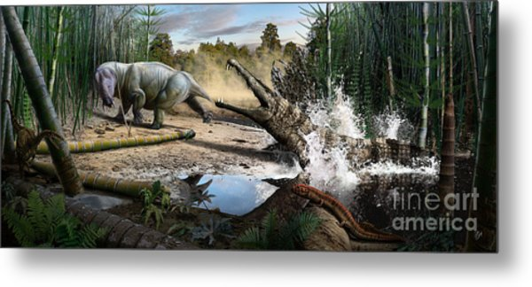 Triassic Mural 1 Metal Print