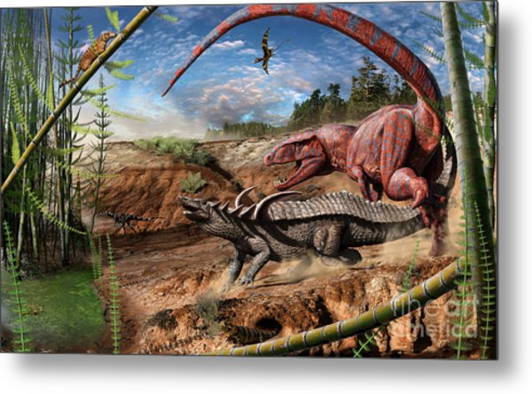 Triassic Mural 2 Metal Print