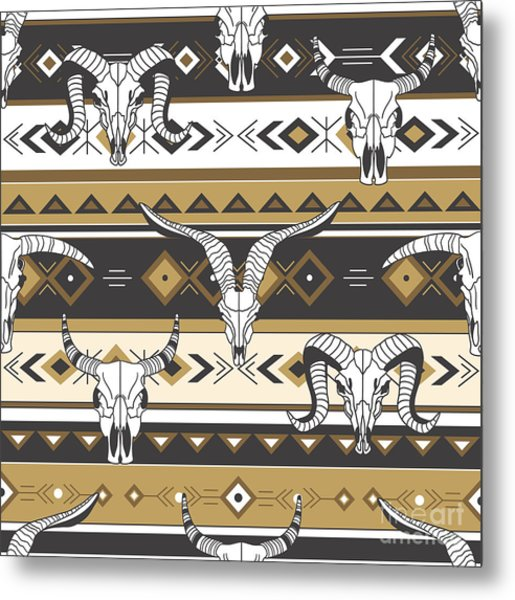 Tribal Seamless Pattern With Skulls Of Metal Print
