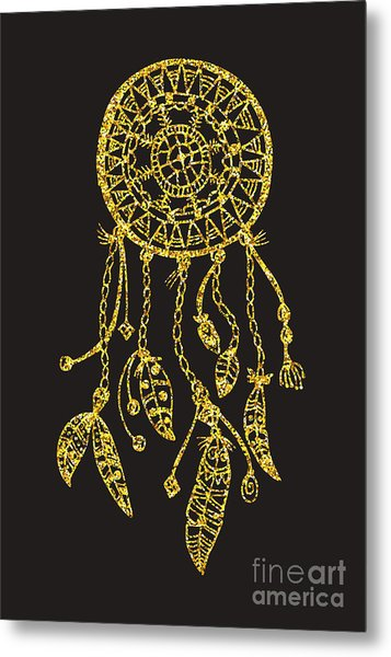 Tribal Vector Dream Catcher With Metal Print
