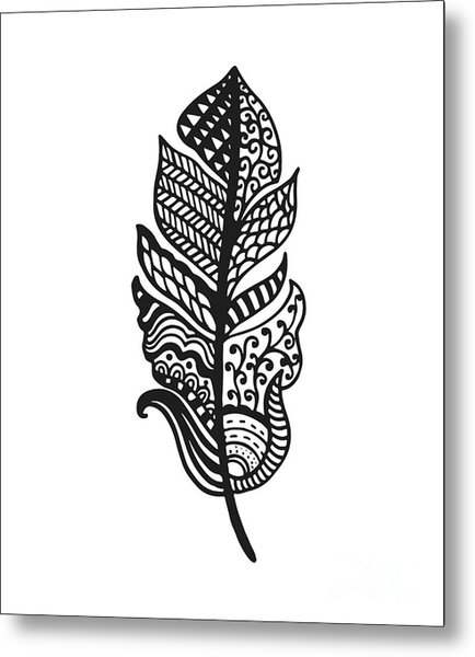 Tribal Vector Feather. Hand Drawn Metal Print by Qilli