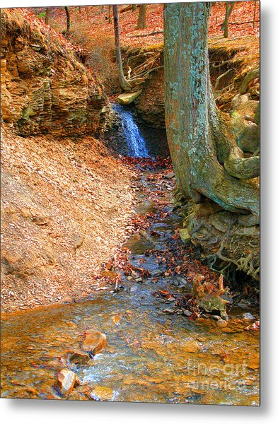 Trickling Waterfall By Shellhammer Metal Print