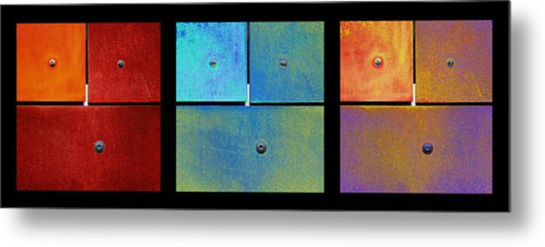 Metal Print featuring the photograph Triptych Red Cyan Purple - Colorful Rust by Menega Sabidussi