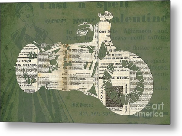 Triumph Boneville Cafe Racer Newspaper Cut Metal Print