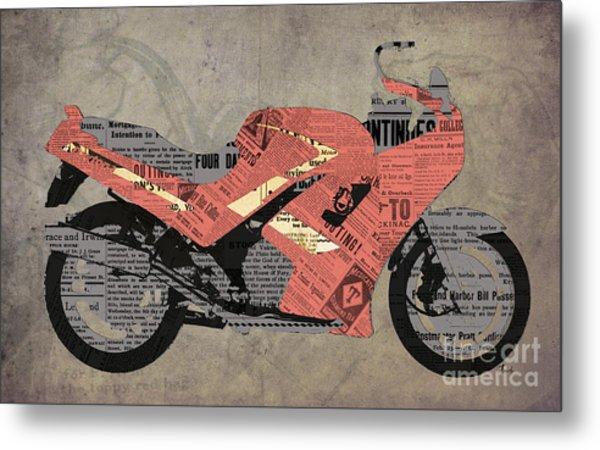 Triumph Daytona 1000 1992 And Red News, Man Cave Decoration Metal Print