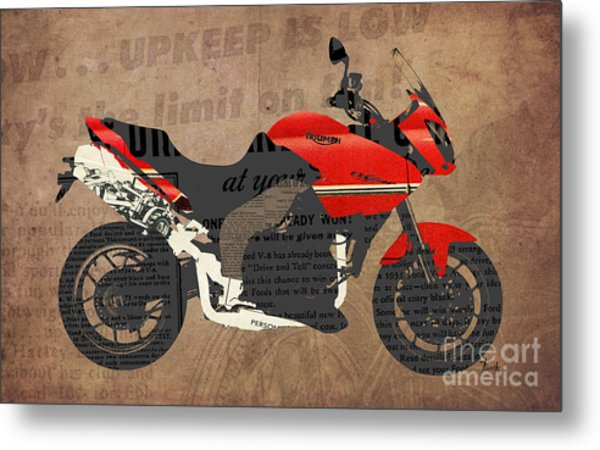 Triumph Motorcycle And The News Metal Print
