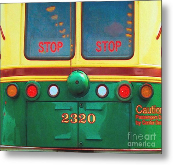 Trolley Car - Digital Art Metal Print