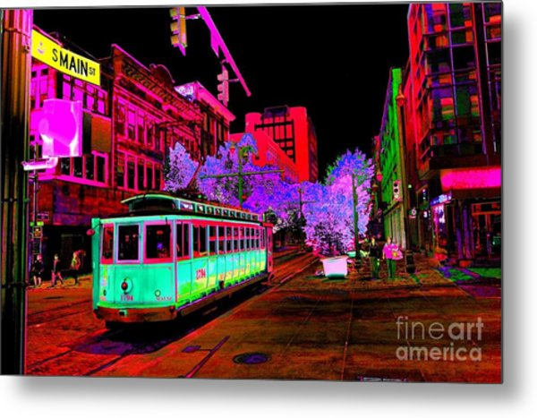 Trolley Night Digital  Metal Print