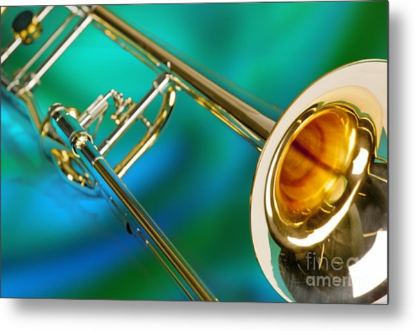 Trombone Against Green And Blue In Color 3204.02 Metal Print