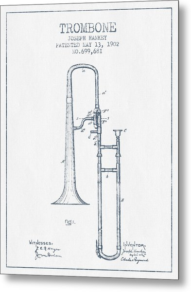 Trombone Patent From 1902 - Blue Ink Metal Print