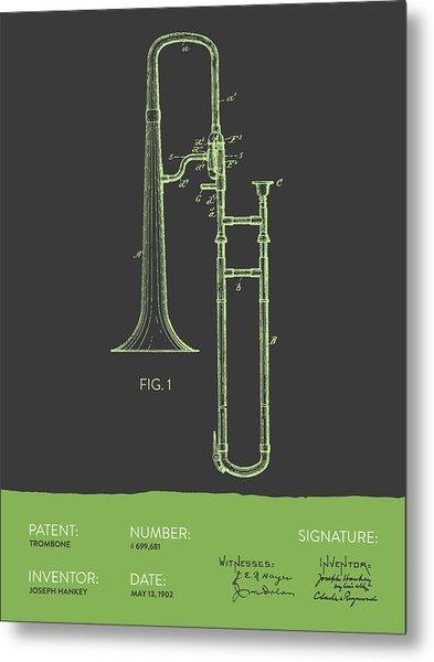 Trombone Patent From 1902 - Modern Gray Green Metal Print