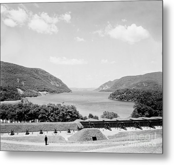 Trophy Point North Fro West Point In Black And White Metal Print