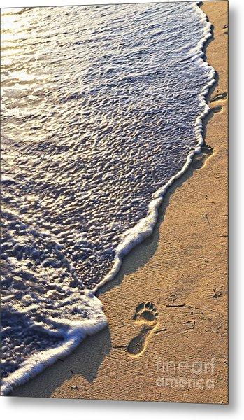 Tropical Beach With Footprints Metal Print