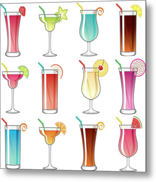 Tropical Cocktail Glass Icons Set Metal Print by Bortonia