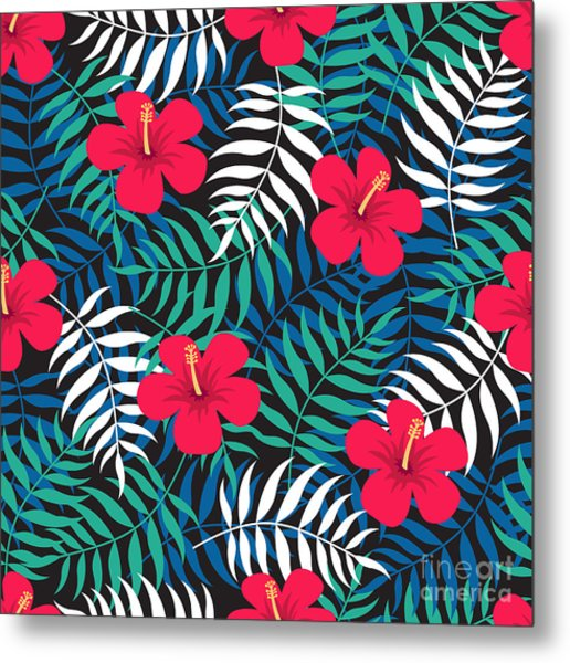 Tropical Floral Seamless Pattern With Metal Print