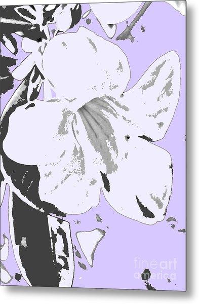 Tropical Floral Violet Black Metal Print