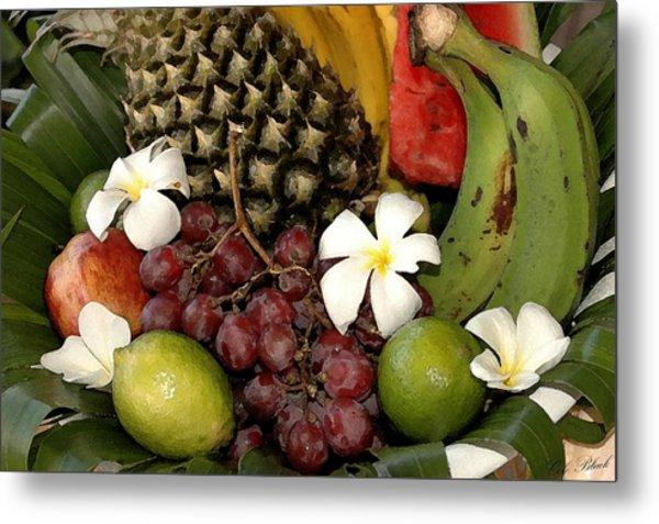 Tropical Fruit Basket Metal Print by Cole Black