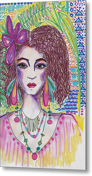 Tropical Girl Metal Print