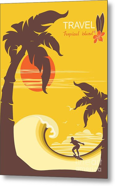 Tropical Paradise With Palms Island And Metal Print