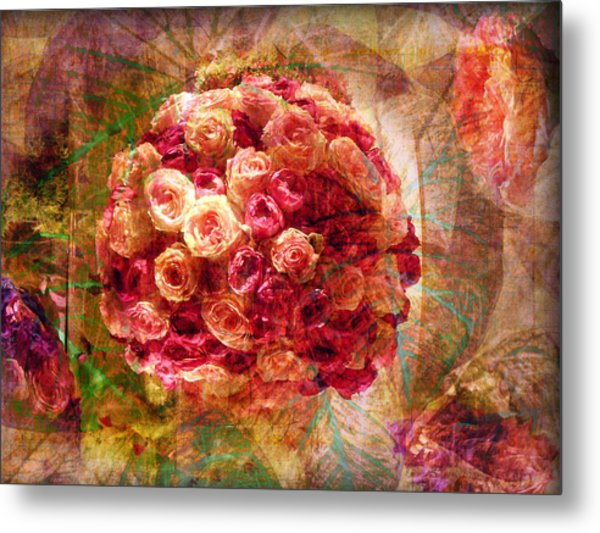 English Rose Bouquet Metal Print