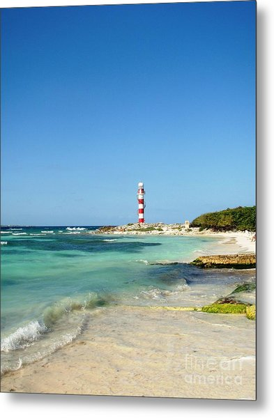 Metal Print featuring the photograph Tropical Seascape With Lighthouse by Cristina Stefan