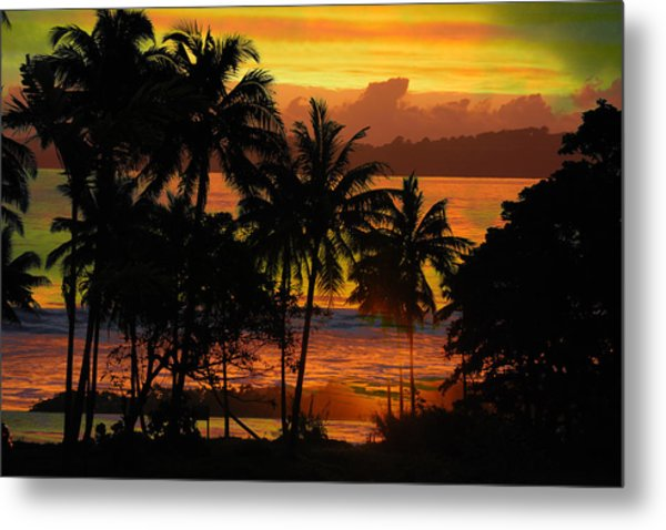 Tropical Sunset In Greens Metal Print