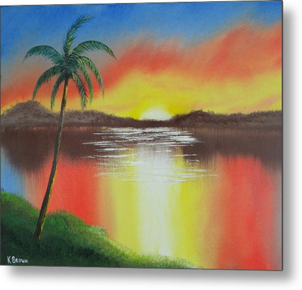 Metal Print featuring the painting Tropical Sunset by Kevin  Brown