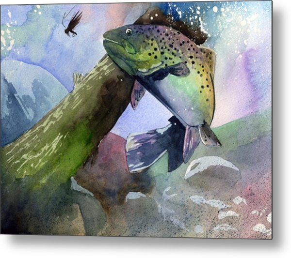 Trout And Fly Metal Print