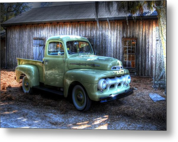 Truck By The Barn Metal Print