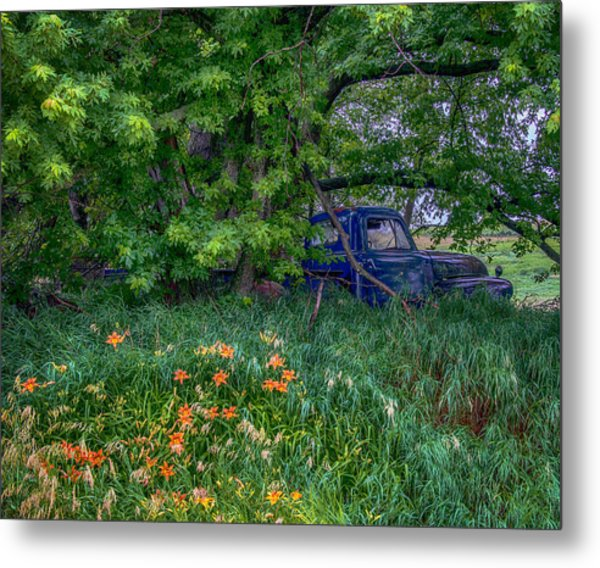 Truck In The Forest Metal Print