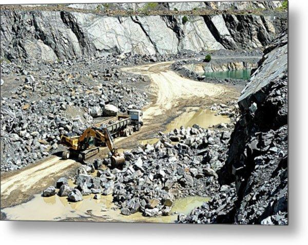 Truck Loaded In Open Pit Gravel Mine Metal Print by Sproetniek