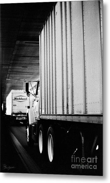 Truck Traffic In Tunnel Metal Print