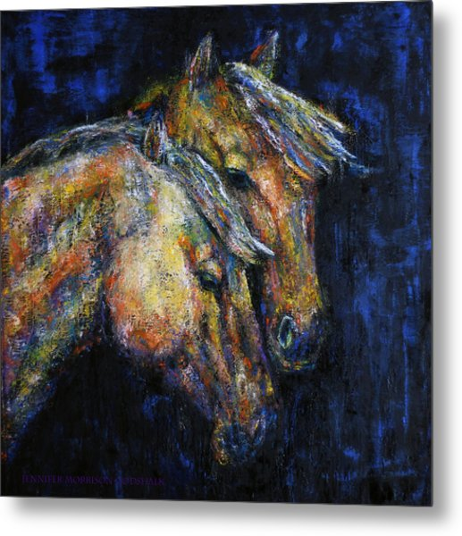 True Companions Contemporary Horse Painting Metal Print