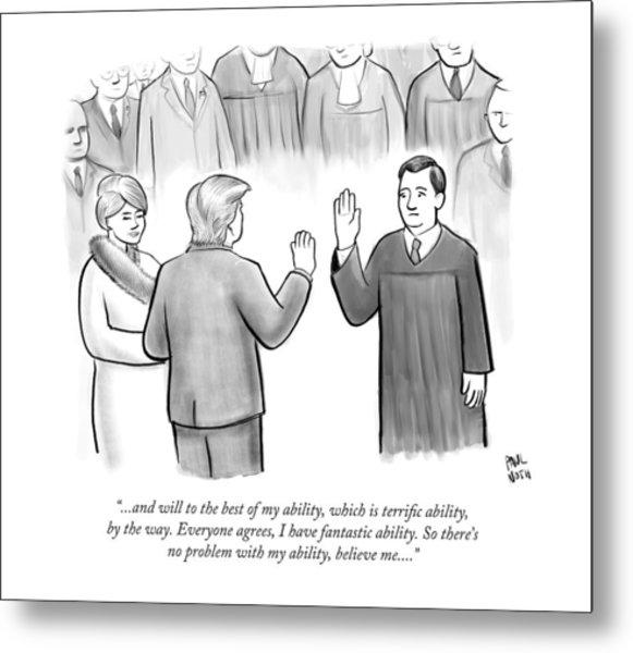 Trump Being Sworn Into Office Metal Print