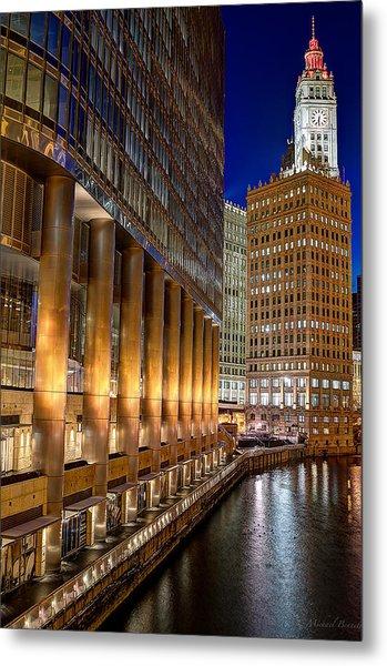 Trump Wrigley Chicago River Blue Hour Metal Print by Michael  Bennett