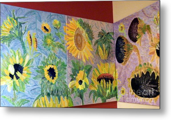 Tryptich Corner Sunflowers Metal Print