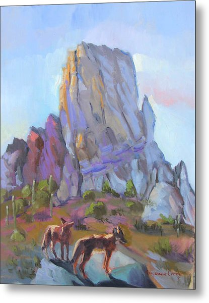 Tucson Butte With Two Coyotes Metal Print