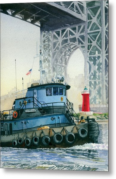 Tugboat And The Little Red Lighthouse Metal Print