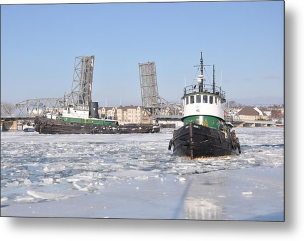 Tugs In The Harbor Metal Print