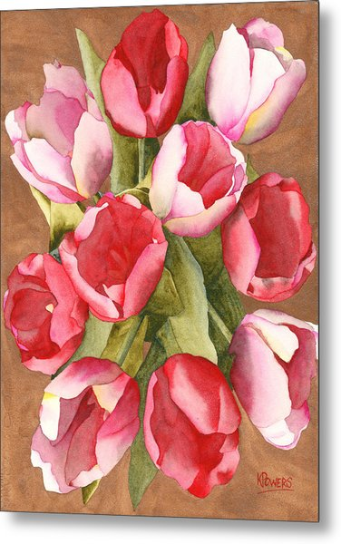 Metal Print featuring the painting Tulip Bouquet by Ken Powers
